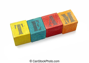 colorful wood blocks with team word on white background