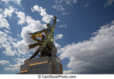 Famous soviet monument Rabochiy i Kolkhoznitsa ( Worker and Kolkhoz Woman OR Worker and Collective Farmer) of sculptor Vera Mukhina, Moscow, Russia. Made of in 1937.