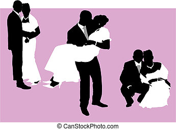 Wedding couples - Illustration of a couple just married....