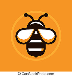 Vector abstract logo symbol in trendy flat style - bee sign