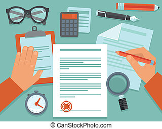 Vector business concept in flat style - paper douments and...