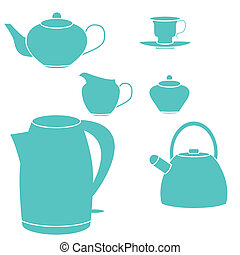 Tea set. Vector illustration. Isolated on white