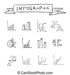 Business doodle graphs infographic isolated on white...