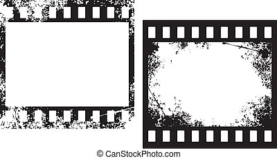 grunge film frames, photo frames, grunge filmstrip