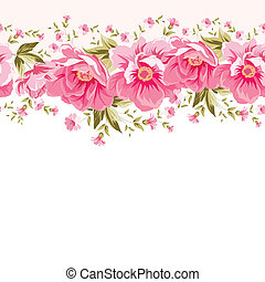 Border of flowers for seamless texture. Textile design....