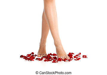 Image of healthy long woman's legs. beautiful feet of girl...