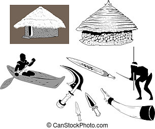African Old Lifestyle - Shacks and objects used in the old...