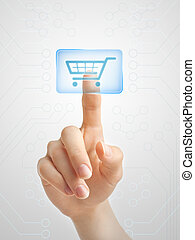 Modern shopping - Hand pushing virtual shopping cart