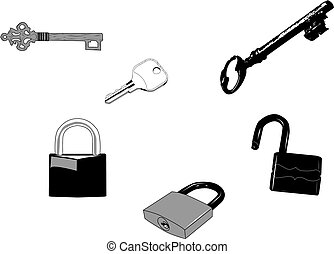 Keys and Locks - Set of old and new keys and locks.Can be...