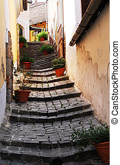 A lane in Szentendre - a side lane between houses in...