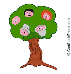 Family Tree Symbol - Illustration of family history with...