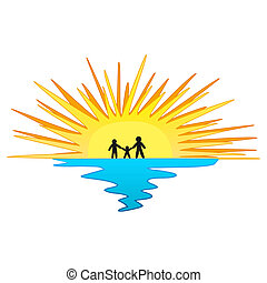Sunset with Family Symbol