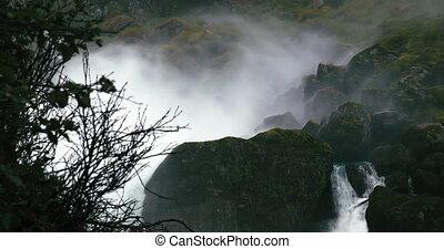 4K, Heavy Spraying Waterfall, Norwa - 4K, Nature Of Norway,...