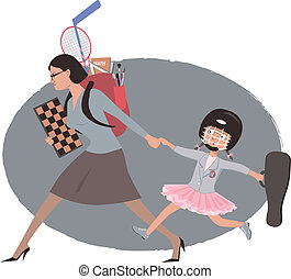 After school activities - Overachieving woman dragging her...