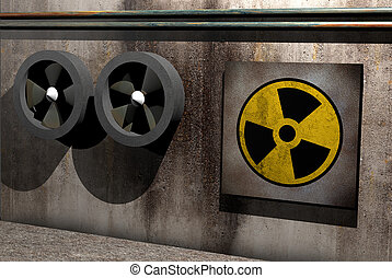 nuclear symbol - symbol of nuclear danger on a dirty room
