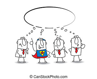 think tank with a superhero - this teamwork thinks about a...