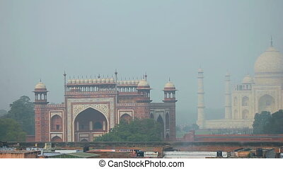 Taj Mahal - Panoramic view of the Taj Mahal, Agra, India