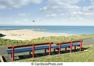 benches with views of Ballybunion beach and coast - a...