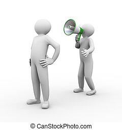 3d man megphone annoucement - 3d illustration of person...