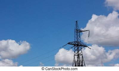 large high-voltage transmission lines in power station