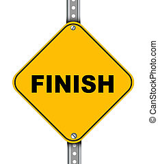Yellow road sign of finish - Illustration of yellow signpost...