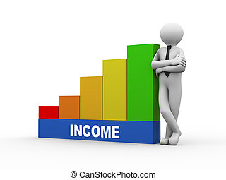3d man with income growing business bars - 3d illustration...