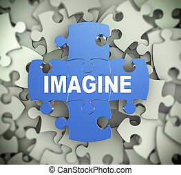 3d puzzle pieces - imagine - 3d illustration of attached...