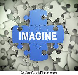 3d puzzle pieces - imagine - 3d illustration of attached...