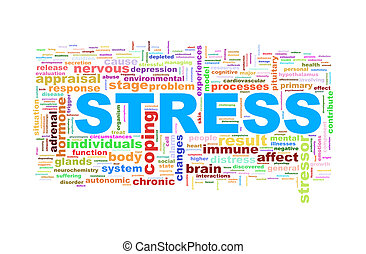 wordcloud word tags of stress - Illustration of word tags...