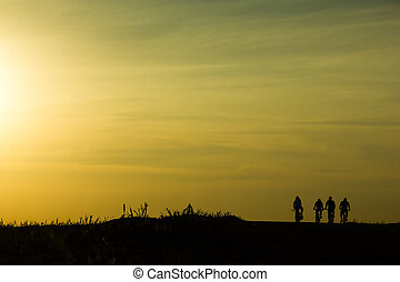 Cyclists at the sunset