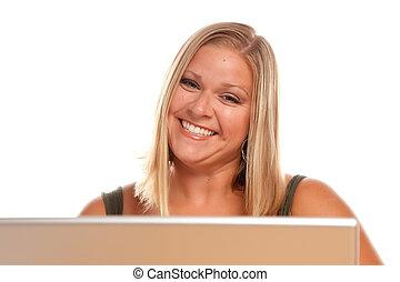 Beautiful Smiling Blonde Woman Using Laptop