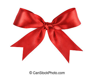 deep red tied ribbon bow, isolated on white