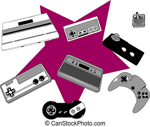 Retro game console and joysticks - Set of old game console...