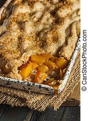 Homemade Flakey Peach Cobbler in a Dish