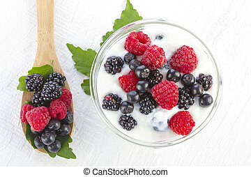 yogurt with forest berries in a bowl - yogurt with forest...