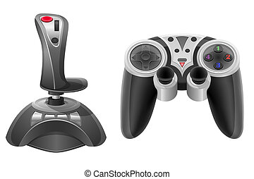 set icons joysticks modern for gaming consoles vector...