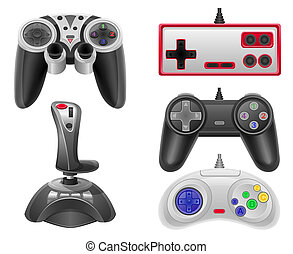 set icons joysticks for gaming consoles vector illustration...