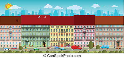 City life - Vector illustration of life in the city old...