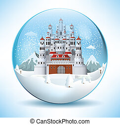 Fairytale castle in the glass spher - Vector illustration of...