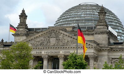 waving german flags bundestag - A waving german flag in...