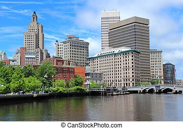 Providence, Rhode Island City skyline in New England region...