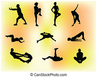 Gym Class - Set of 10 silhouettes of people doing gym...