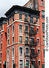 New York City, United States - old residential building in...