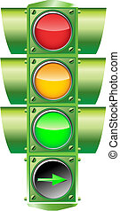 Vector Traffic Light - Vector illustration of a traffic...