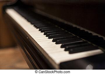 Piano Keys - Old piano keys row close-up abstract shot