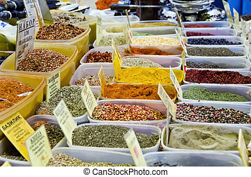 Market place - Photo of market place with varicolored spices