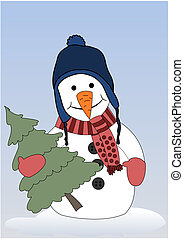 Happy snowman with christmas tree