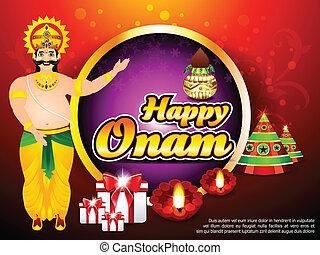 Onam Background With King Mahabali vector illustration