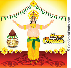 Happy onam background with mahabali - Happy onam background...