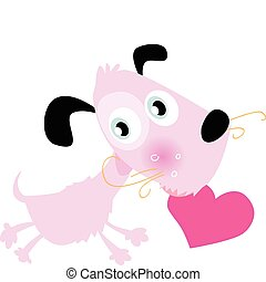 Doggie with heart - Cute loving doggie with heart VECTOR...